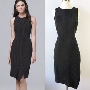 WHBM Black Gray Pinstripe Sheath Career Dress 8P